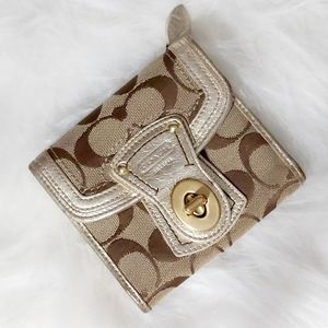 Coach Legacy Signature Jacquard Brown/Gold Wallet